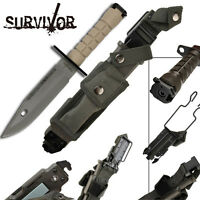 Survivor Special Ops Military Tactical Bayonet Fixed Blade Survival Knife Beige