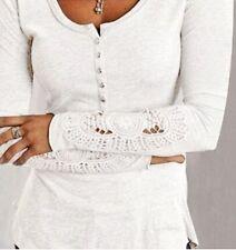 Women Sexy Long Sleeve Shirt Casual Lace Blouse Loose Cotton Top T Shirt M