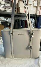 Michael Kors Sady Medium NS Top Zip Shoulder Tote Shopper Saffiano Leather Grey