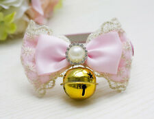 Various Dog Cat Pet Cute Bow Tie Puppy Kitten Necktie Collar Bell Pearl Necklace