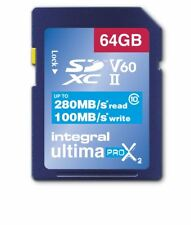 Integral Professional Grade 64GB UHS-II v60 Class 10 SDXC SD-Card 280MB/s read