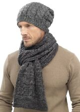 i-Smalls Men's Stylish Cable Knit Slouche Beanie Hat & Scarf Set