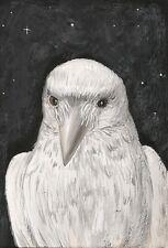 LE #1 4X6 POSTCARD RYTA RAVEN WHITE CROW PORTRAIT NATURE ADUBON SOCIETY ART