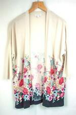 Monsoon Ladies Cardigan Beige Floral Pattern Size S Used
