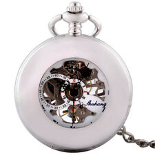 Vintage Roman Silver Glossy Mechanical Pocket Watch Windup Chain Skeleton Retro