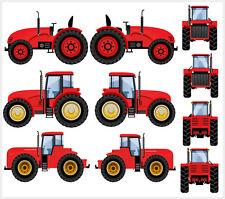 Tractor - Red - 10 Pack Wall Art Vinyl Stickers - John Deere Digger JCB Decals