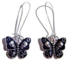 BLACK DEATHSHEAD MOTH EARRINGS silver enamel skulls butterfly gothic punk 2E