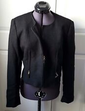 Woman's Emmanuel Chaussade French 40 Teal Glitter Black Jacket Size M 8