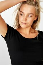 Cotton On Womens Sweetheart Scoop Back Tee S/S Tops  In  Black