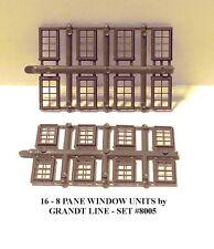 N Scale: 16 - 8 PANE WINDOWS by GRANDT LINE #8005