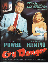 CRY DANGER 1951 Dick Powell, Rhonda Fleming HIGH TREASON TRADE ADVERT