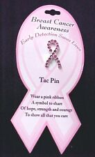 Breast Cancer Awareness Pin Tac Pink Ribbon Austrian Crystal Carded New