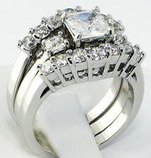 Anniversary Princess Cut 3 PC. Bridal Engagement Wedding Ring Set - SIZE 9