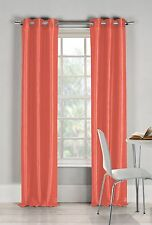 "Two (2) Salmon Window Curtain Panels: Faux Silk, Silver Grommets, 76"" x 84"""