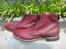 MOMA 19605-Y2 PELLE Maroon Ankle Boots, Handmade Italy, Pebbled Size42