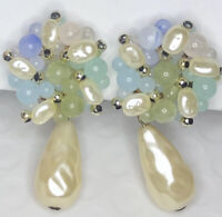 Beautiful Pastel Green Blue & Faux Pearl Dangle Drop Gold Tone Clip Earrings