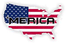 MERICA Hard Hat Sticker | Motorcycle Bike Helmet Decal | American Made USA Flag