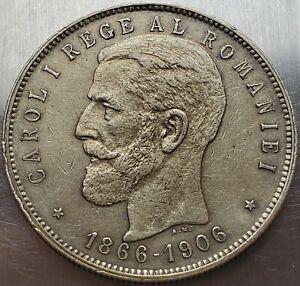5 Lei 1906 Carol I Reign bearded King of Romania High Grade Very Rare !!! KM# 35