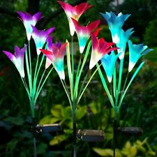 Solar Flower Lights Outdoor 3 Pack Lily Flower IP65 Waterproof 7 Colors Changing