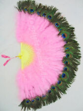 "NEW CANDY PINK MARABOU PEACOCK 29"" OPEN FEATHER FAN WEDDING COSPLAY COSTUME"
