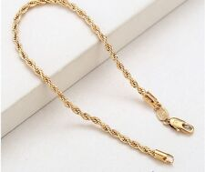 """9ct 9k Yellow """"Gold Filled"""" Rope Chain Bangle Bracelet. L=8.3"""" W=3mm Gift"""
