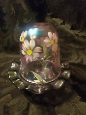Fenton Glass Fairy Light Marked, purple iridescent hand painted floral