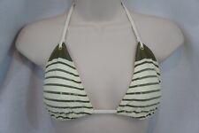 Sperry Swim Bikini Top Sz S Creme Green Striped Sequined Triangle Slide Bra