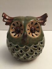 Green Brown Owl Tealight Tea Light Glazed Ceramic Pottery Tabletop Home Decor