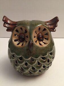 Green Brown Owl Tealight Tea Light Glazed Ceramic Pottery Tabletop Home Decor