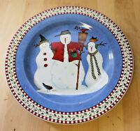 Sakura Snowman Salad Plate Debbie Mumm Oneida Snowmen Broom with Bird