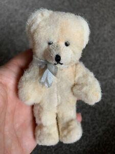 "Vintage Miniature Fur Plush White Teddy Baby Bear 4"" Inset  Muzzle Limb Jtd CUTE"