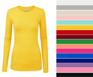 Women's Basic Long Sleeve Top Slim Fit Stretch Crew Neck T-shirt Plain Cotton