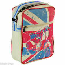 SCOOTER DESIGN FLIGHT BAG / MAN BAG WITH UNION JACK PRINT, BY VITAMIN T