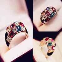 Elegant Womens Gold Colourful Rhinestone Crystal Finger Ring Jewelry Gift Size 8