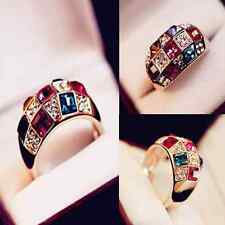 Fashion Women Colourful Rhinestone Crystal Gold Finger Ring Wedding Jewelry Gift