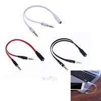 3.5mm Female to 2 Male Audio Cable Single-hole Computer Headphone Mic Adapter