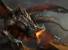 ART PRINT POSTER PAINTING DRAWING FANTASY MONSTER BATTLE DRAGON LFMP1046