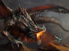 Impresión arte cartel Pintura Dibujo Fantasía Monster Battle Dragon lfmp1046