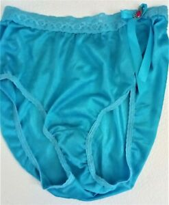 TURQUOISE SHEER NYLON & LACE FRENCH CUT SISSY PANTY BRIEF 6/M