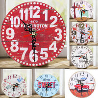 Vintage Wooden Wall Clock Large Shabby Chic Rustic Kitchen Office Home Antique