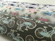 Vintage Bicicletta Fiore Cesto Spingere 100% Cotone Popeline 112cm Ampio M543