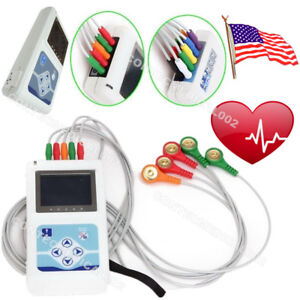 Newest 3 Channel 24 Hours Dynamic ECG Holter 12 Leads EKG Recorder USB Software