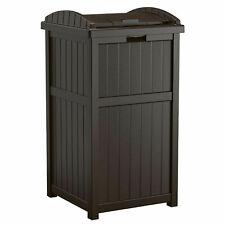 Suncast GH1732J Trashcan Hideaway Outdoor 33 Gallon Garbage Waste Bin, Java