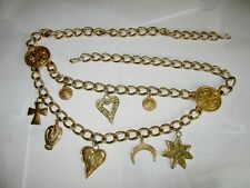"""Vintage Escada gold tone large chain belt with large charms - 39"""" long"""