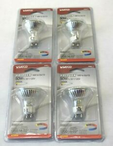 Satco Halogen MR16 GU10 50W S3502 Bulbs 4 Pack 2900K 120V New