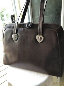 $59 Coldwater Creek Laptop Tote Brown Silver Heart Bag Faux Leather ComputerCase