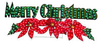 """72"""" HOLOGRAPHIC LIGHTED MERRY CHRISTMAS SIGN HOLIDAY Poinsettia OUTDOOR Yard"""