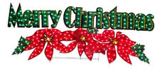 "72"" Holographic Lighted Merry Christmas Sign Holiday Poinsettia Outdoor Yard"
