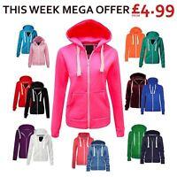 Womens Ladies Plain Coloured Zip Up Hooded Fleece Hoodie Sweatshirt Hoody Jacket