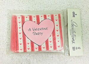 Vintage MIP Valentines Party Invitations Gibson 12 Pack Hearts & Stripes
